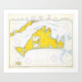 Vintage Map of Martha's Vineyard (1967) Art Print