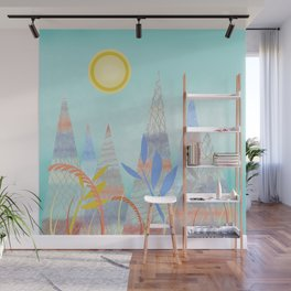 Indian Summer Mountains blue Wall Mural