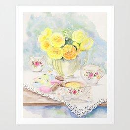 I Love Yellow Roses at Tea Time Art Print