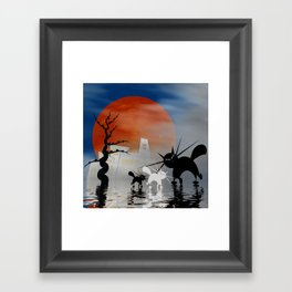 mooncats and their city Framed Art Print