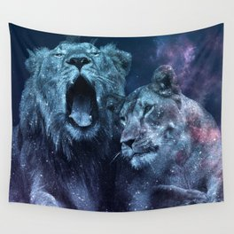 Galaxy Lion Colorful Couple Wall Tapestry