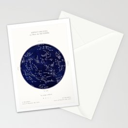 French October Star Map in Deep Navy & Black, Astronomy, Constellation, Celestial Stationery Cards