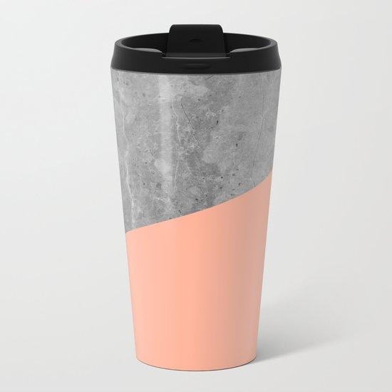 Geometry 101 Sweet Peach Pink Metal Travel Mug