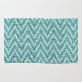 Imitation Velvet Turquoise Chevron Pattern Rug