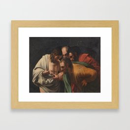 Manner of Caravaggio (late 18th early 19th Century) The Incredulity of St. Thomas Framed Art Print
