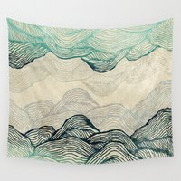 waves Wall Tapestries featuring Crash Into Me  by rskinner1122