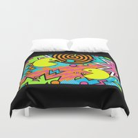 80s Duvet Covers featuring Pac-80s by Skorretto
