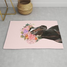 Horse with Flowers Crown in Pink Rug