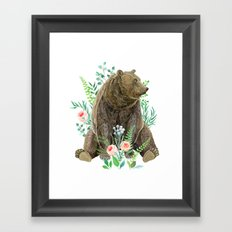 bear sitting in the forest Framed Art Print