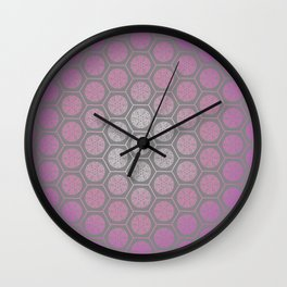 Hexagonal Dreams - Purple Pink Gradient Wall Clock