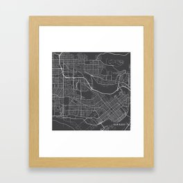Burnaby Map, Canada - Gray Framed Art Print