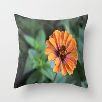 rileigh smirl Throw Pillows featuring Orange and Pink by Rileigh Smirl