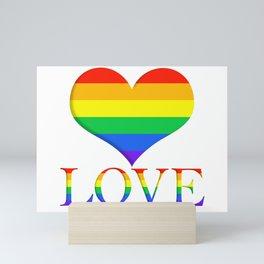 Pride Heart and Love Minimalist Art Mini Art Print