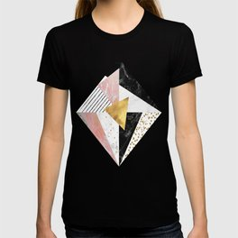 Elegant geometric marble and gold design T-shirt