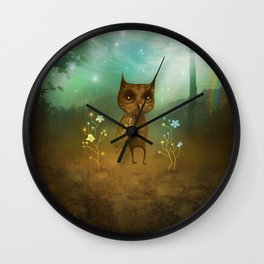 Owl and rainbow Wall Clock