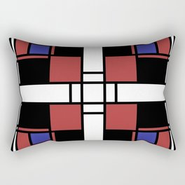 Neoplasticism symmetrical pattern in Well Read (red) Rectangular Pillow