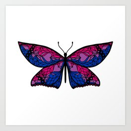 Fly With Pride: Bisexual Flag Butterfly Art Print
