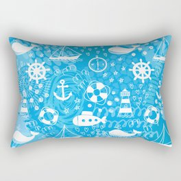 Doodle seamless pattern with whales, sailing ships, wheels, lifebuoys and lighthouses. Rectangular Pillow