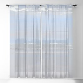 Illustrated Haystack Rock Sheer Curtain