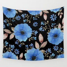 Blue flowers with black Wall Tapestry