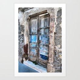 Old blue door Art Print
