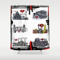 cities Shower Curtains featuring Cities 2 by sladja