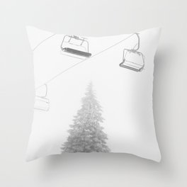 Backcountry Skier // Fresh Powder Snow Mountain Ski Landscape Black and White Photography Vibes Art Throw Pillow