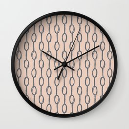 Pebble Dot Stripes Gray on Vintage Rose Pink Wall Clock