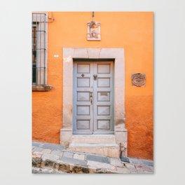 Orange and grey | The San Miguel de Allende Mexico door collection | Travel photography print Canvas Print