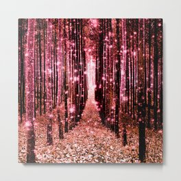 Magical Forest Vibrant Pink Living Coral Metal Print