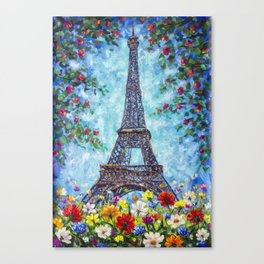 Handmade painting Spring Eiffel Tower Paris in Flowers Original art for Sale. Artist Valery Rybakow Canvas Print