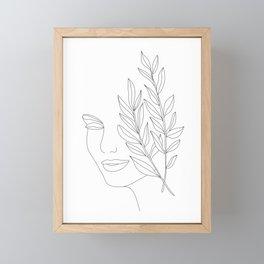 Minimal Line Art Woman Face Framed Mini Art Print