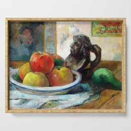 Paul Gauguin Still Life with Apples, a Pear, and a Ceramic Portrait Jug Serving Tray