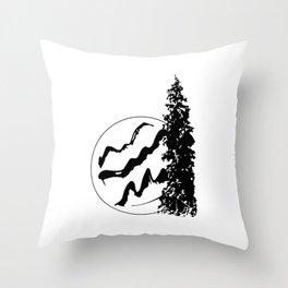 Tree Mountains Throw Pillow