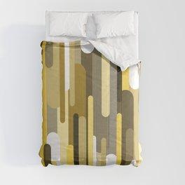 Flowing drops of paint in gold yellow, abstract liquid flow, golden background Comforters