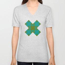 gradient squares pattern aqua olive Unisex V-Neck