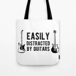 Easily Distracted By Guitars Bass Guitarist Tote Bag