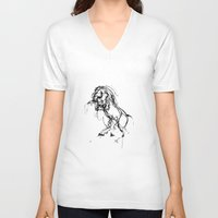 into the wild V-neck T-shirts featuring Horse (Wild) by Paper Horses