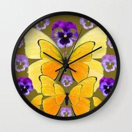 SPRING PURPLE PANSY FLOWERS & YELLOW BUTTERFLIES GARDEN Wall Clock