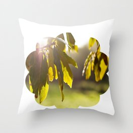 leaves at sunset Throw Pillow