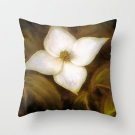 Single Dogwood Flower Sepia Throw Pillow