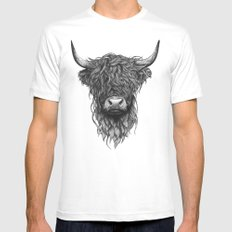 Highland Cattle White LARGE Mens Fitted Tee