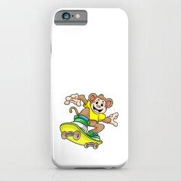 Monkey as Skateboarder with Skateboard iPhone Case