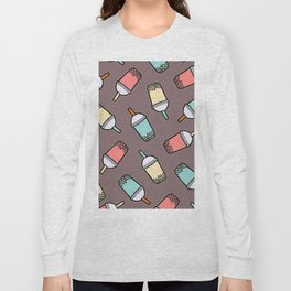 Bubble Tea Grey Pattern Long Sleeve T-shirt