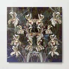 Orchids and Pink Spiders Metal Print