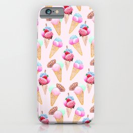 Ice cream Pattern summer cool watercolor iPhone Case