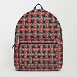 Red and White Fuzzy Weave Backpack