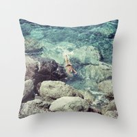 swimming Throw Pillows featuring SWIMMING by Marte Stromme