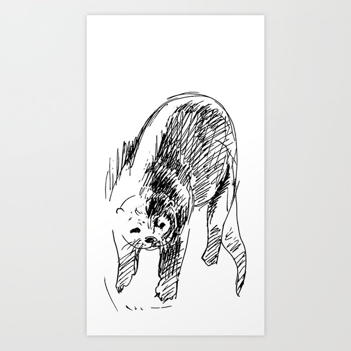 Otter in lines Art Print
