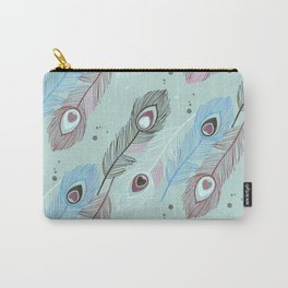 Lucky Peacock Feathers <sea mist> Carry-All Pouch